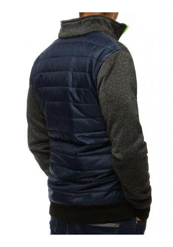 Tmavě modrá prošívaná bunda s límcem pro pány