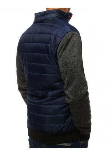Přechodná pánská bunda tmavě modré barvy s límcem