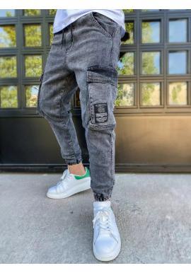 Riflové pánské kapsáče tmavě šedé barvy s nášivkou