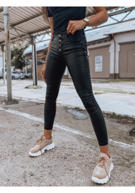 Dámské voskované kalhoty s vysokým pasem v černé barvě