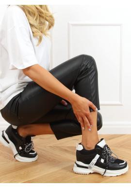 Černé módní tenisky na klínovém podpatku pro dámy