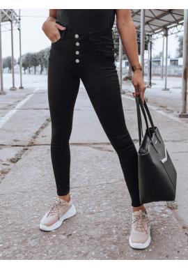 Černé přiléhavé rifle s vysokým pasem pro dámy