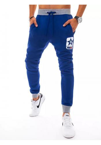 Pánské sportovní tepláky s potiskem v modré barvě