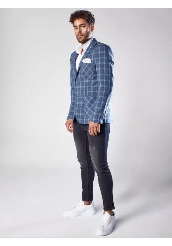 Tmavě modré kostkované sako pro pány