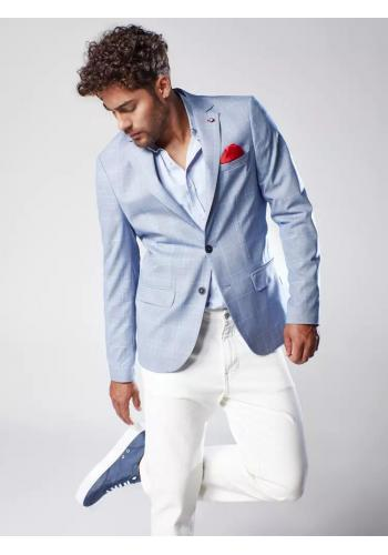 Jednořadé pánské sako světle modré barvy s kostkovaným vzorem