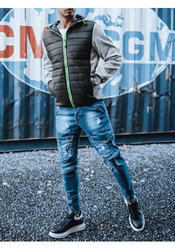Přechodná pánská bunda šedé barvy s kapucí