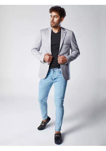 Pánské neformální sako se záplatami na loktech v šedé barvě