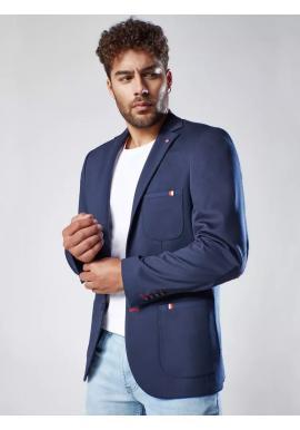Tmavě modré neformální sako se záplatami na loktech pro pány