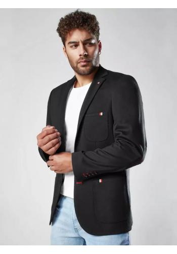 Neformální pánské sako černé barvy se záplatami na loktech