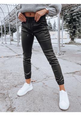 Dámské voskované kalhoty s gumou v pase v černé barvě