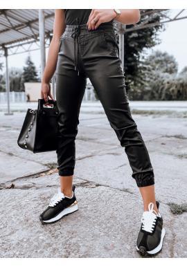 Voskované dámské kalhoty černé barvy s gumou v pase