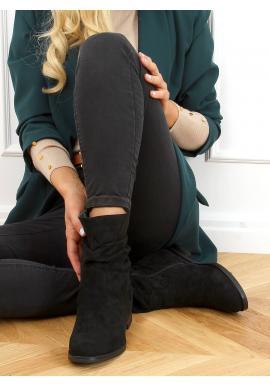 Černé nařasené kozačky na skrytém podpatku pro dámy