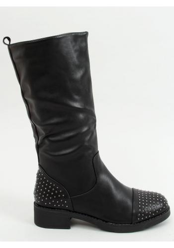 Dámské módní kozačky s vybíjením v černé barvě