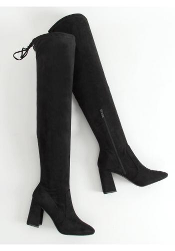 Černé kozačky nad kolena na stabilním podpatku pro dámy