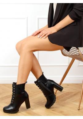 Černé šněrovací kozačky na stabilním podpatku pro dámy
