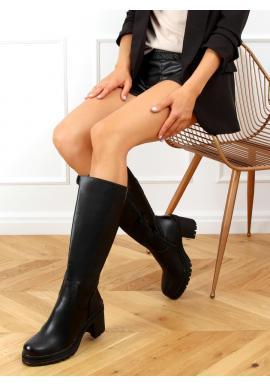 Dámské vysoké kozačky na širokém podpatku v černé barvě
