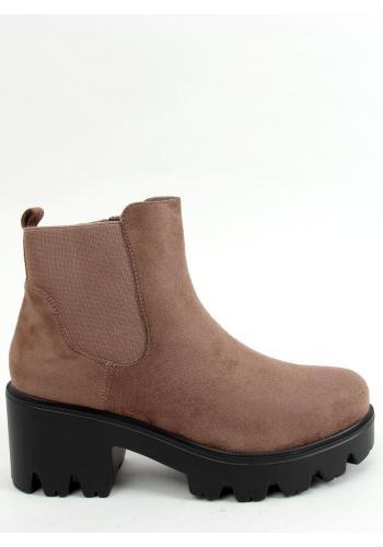 Tmavě béžové semišové boty s tlustou podrážkou pro dámy