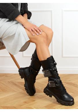 Černé stylové holínky s kapsičkami pro dámy