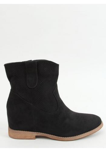 Černé semišové boty se skrytým podpatkem pro dámy