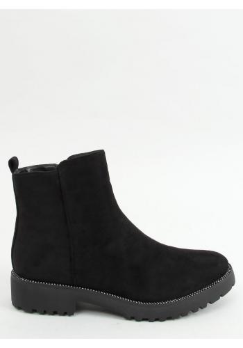 Dámské semišové boty s kamínky v černé barvě