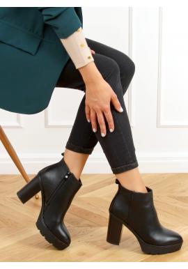 Černé kotníkové kozačky na stabilním podpatku pro dámy