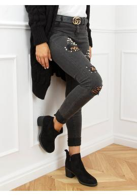 Černé semišové boty na širokém podpatku pro dámy