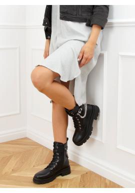 Černé módní Workery s řetízky pro dámy