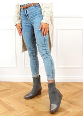 Šedé ponožkové kozačky na skrytém podpatku pro dámy