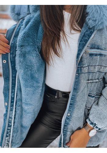 Světle modrá oteplená riflová bunda s kapucí pro dámy