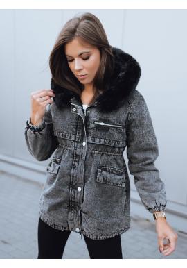 Dámská oteplená riflová bunda s kapucí v černé barvě