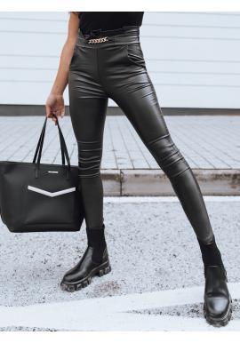Černé voskované kalhoty s ozdobným řetízkem pro dámy