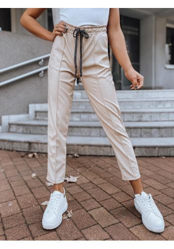 Módní dámské kalhoty světle béžové barvy s gumou v pase
