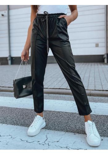 Dámské módní kalhoty s gumou v pase v černé barvě