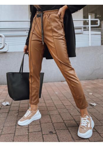 Hnědé módní kalhoty s gumou v pase pro dámy