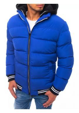 Prošívaná pánská bunda modré barvy na zimu