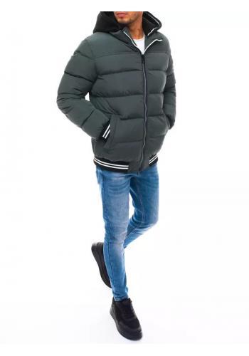 Prošívané pánské bundy šedé barvy na zimu