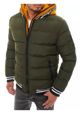Zimní pánská bunda zelené barvy s prošíváním