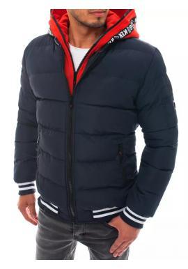 Zimní pánská bunda modré barvy s prošíváním