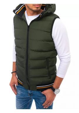 Pánská prošívaná vesta s kapucí v zelené barvě