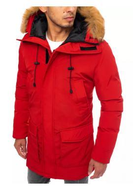 Červená zimní bunda s delším střihem pro pány
