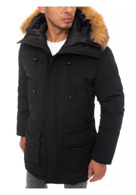 Pánská zimní bunda s delším střihem v černé barvě