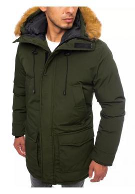 Zimní pánská bunda zelené barvy s delším střihem