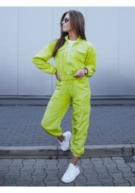 Dámský sportovní komplet bundy a kalhot v limetkové barvě