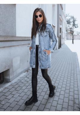 Dlouhá dámská riflová bunda světle modré barvy na knoflíky