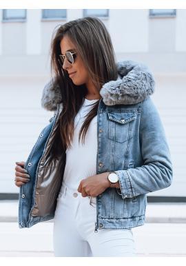 Světle modrá oboustranná bunda s kapucí pro dámy