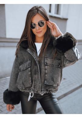 Dámská oteplená riflová bunda s kožešinou v tmavě šedé barvě