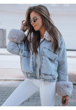 Oteplená dámská riflová bunda světle modré barvy s kožešinou