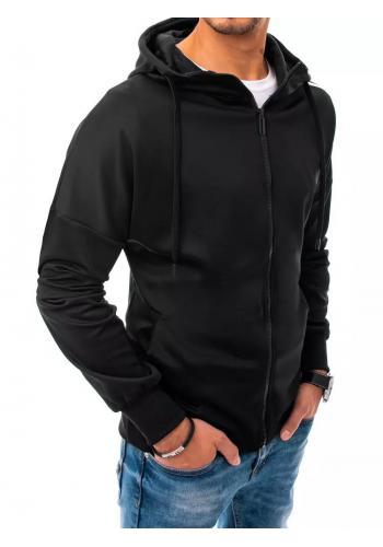 Pánská tepláková mikina s kapucí v černé barvě