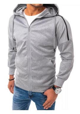 Tepláková pánská mikina šedé barvy s kapucí