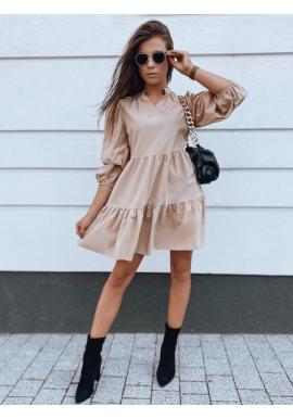 Béžové oversize šaty s volánem pro dámy
